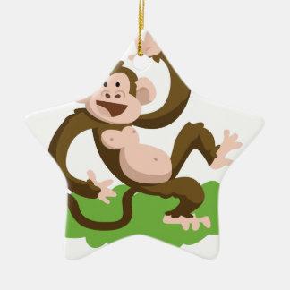 dancing monkey ceramic ornament