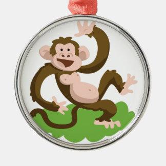 dancing monkey metal ornament