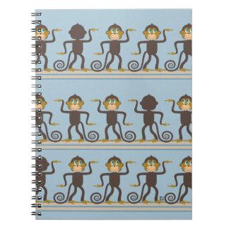 Dancing monkeys pattern, boys, blue notebook