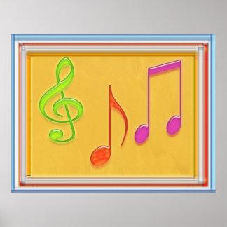 Dancing Music Symbols Poster