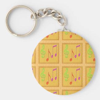 Dancing Musical Symbols Basic Round Button Keychain