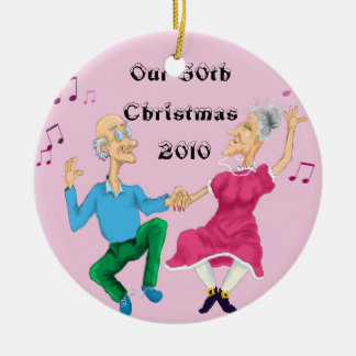 Dancing old people colored, Our 50th Christmas ... Ceramic Ornament