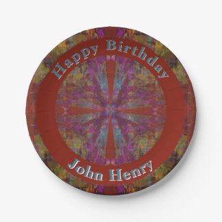 Dancing on Red Abstract Design with Your Text Paper Plate