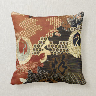 Dancing Oriental Cranes Throw Pillow