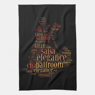 Dancing pair as words cloud design kitchen towel