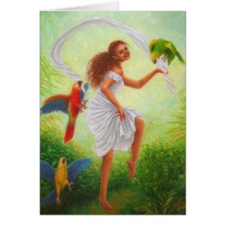 """Dancing Parrots"" blank card"