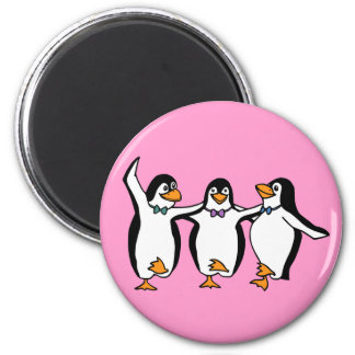 Dancing Penguins 2 Inch Round Magnet