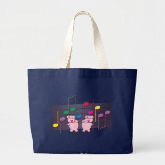 Dancing Piglets:  We love music Large Tote Bag