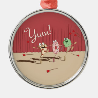Dancing Pizza, Donut, and Ice Cream ornament, Yum! Silver-Colored Round Ornament