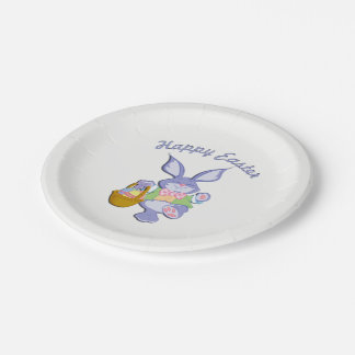 Dancing Purple Easter Bunny 7 Inch Paper Plate