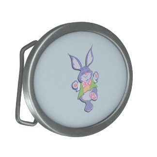 Dancing Purple Easter Bunny Blue Oval Belt Buckle