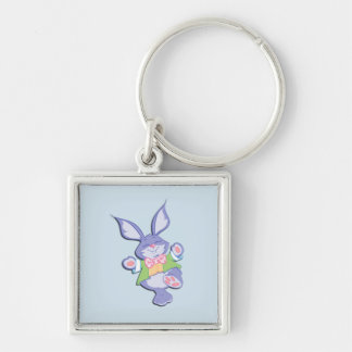 Dancing Purple Easter Bunny Blue Silver-Colored Square Keychain