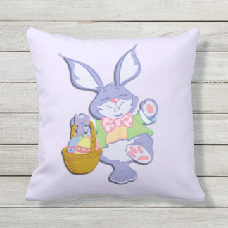 Dancing Purple Easter Bunny Lavender Throw Pillow