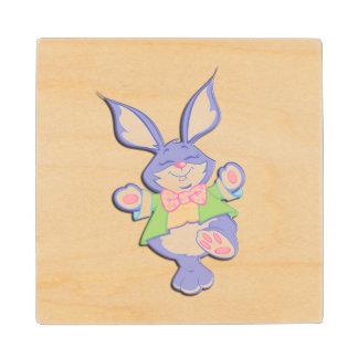 Dancing Purple Easter Bunny Maple Wood Coaster