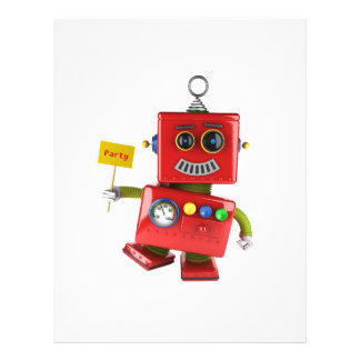 Dancing red toy robot with party sign custom flyer