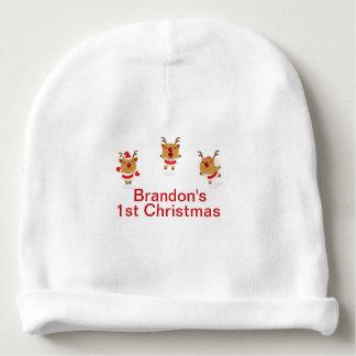 Dancing Reindeer 1st First Merry Christmas Xmas Baby Beanie