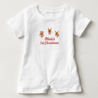 Dancing Reindeer 1st First Merry Christmas Xmas Baby Romper