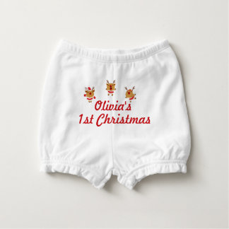 Dancing Reindeer 1st First Merry Christmas Xmas Diaper Cover