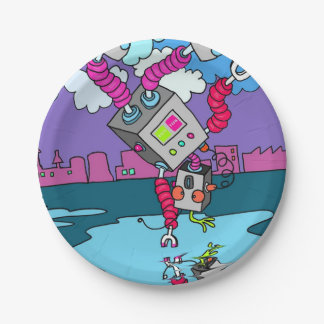 """Dancing Robot 7"""" paper plates 7 Inch Paper Plate"""