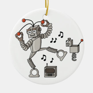 Dancing robot ceramic ornament