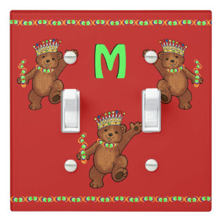Dancing Royal Bears Monogram Light Switch Cover