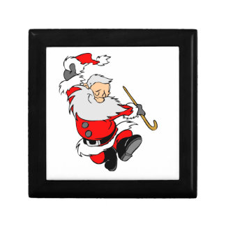 Dancing Santa Claus on Christmas Gift Box