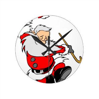 Dancing Santa Claus on Christmas Round Clock