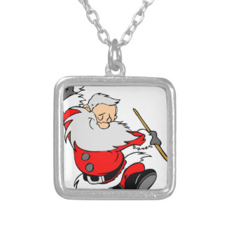 Dancing Santa Claus on Christmas Silver Plated Necklace