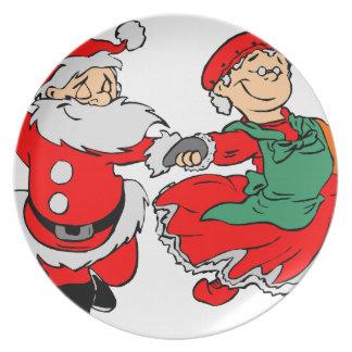 Dancing Santa claus Plate