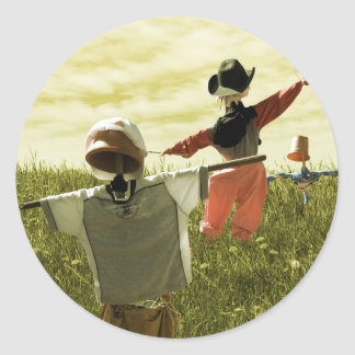 Dancing Scarecrows - Happy scarecrows on a hill Round Sticker