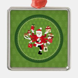 Dancing Shiva Claus Silver-Colored Square Ornament