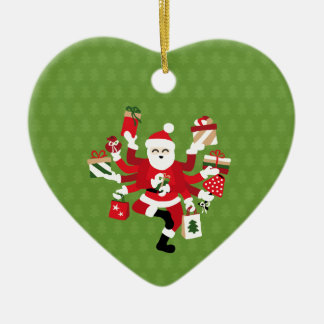 Dancing Shiva Claus - Spruce Forest Ceramic Heart Ornament