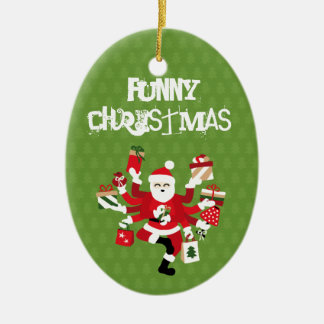 Dancing Shiva Claus - Spruce Forest Ceramic Oval Ornament