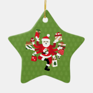 Dancing Shiva Claus - Spruce Forest Ceramic Star Ornament
