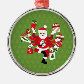 Dancing Shiva Claus - Spruce Forest Silver-Colored Round Ornament