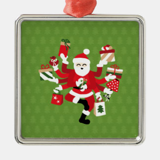 Dancing Shiva Claus - Spruce Forest Silver-Colored Square Ornament