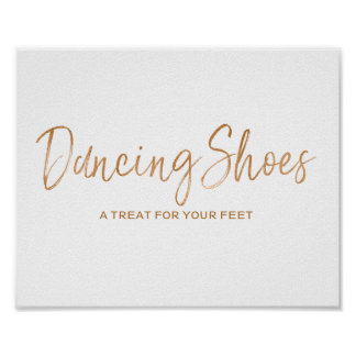 Dancing Shoes 8x10 Stylish Rose Gold Wedding Sign