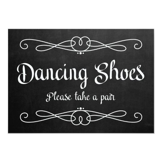 """Dancing Shoes"" Chalkboard Wedding Sign Card"