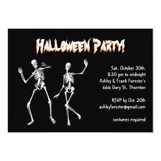 Dancing Skeletons Halloween Costume Party Invite
