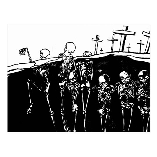 Dancing Skeletons Postcard