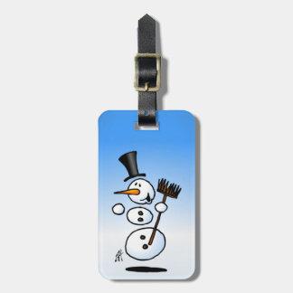 Dancing snowman luggage tag
