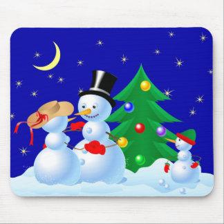 Dancing Snowmen Mouse Pad