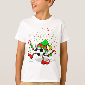 Dancing Soccer or Football Christmas Elf T-Shirt