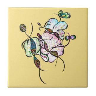 Dancing sprites & fairies - tribal dreamy art ceramic tile