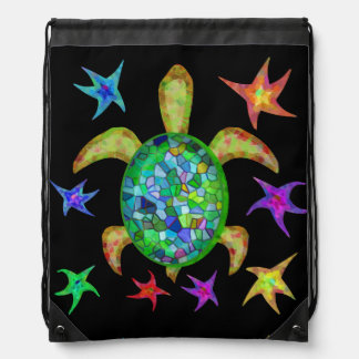 Dancing Star Turtle Drawstring Bag