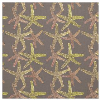 Dancing  starfish brown orange gold yellow fabric