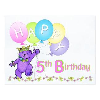 Dancing Teddy Bear 5th Birthday Postcard
