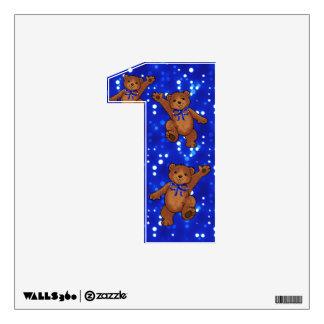 Dancing Teddy Bears Number 1 Wall Sticker