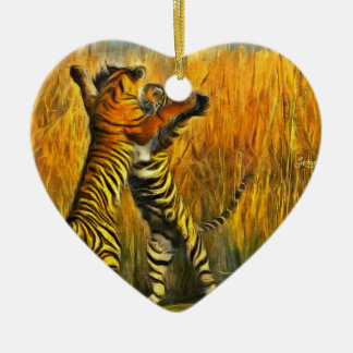 Dancing Tigers Ceramic Ornament