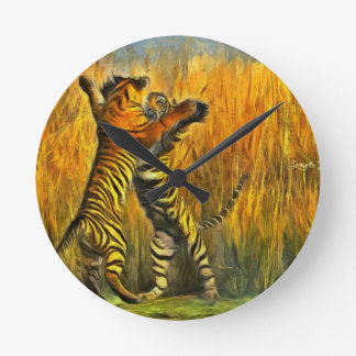 Dancing Tigers Round Clock